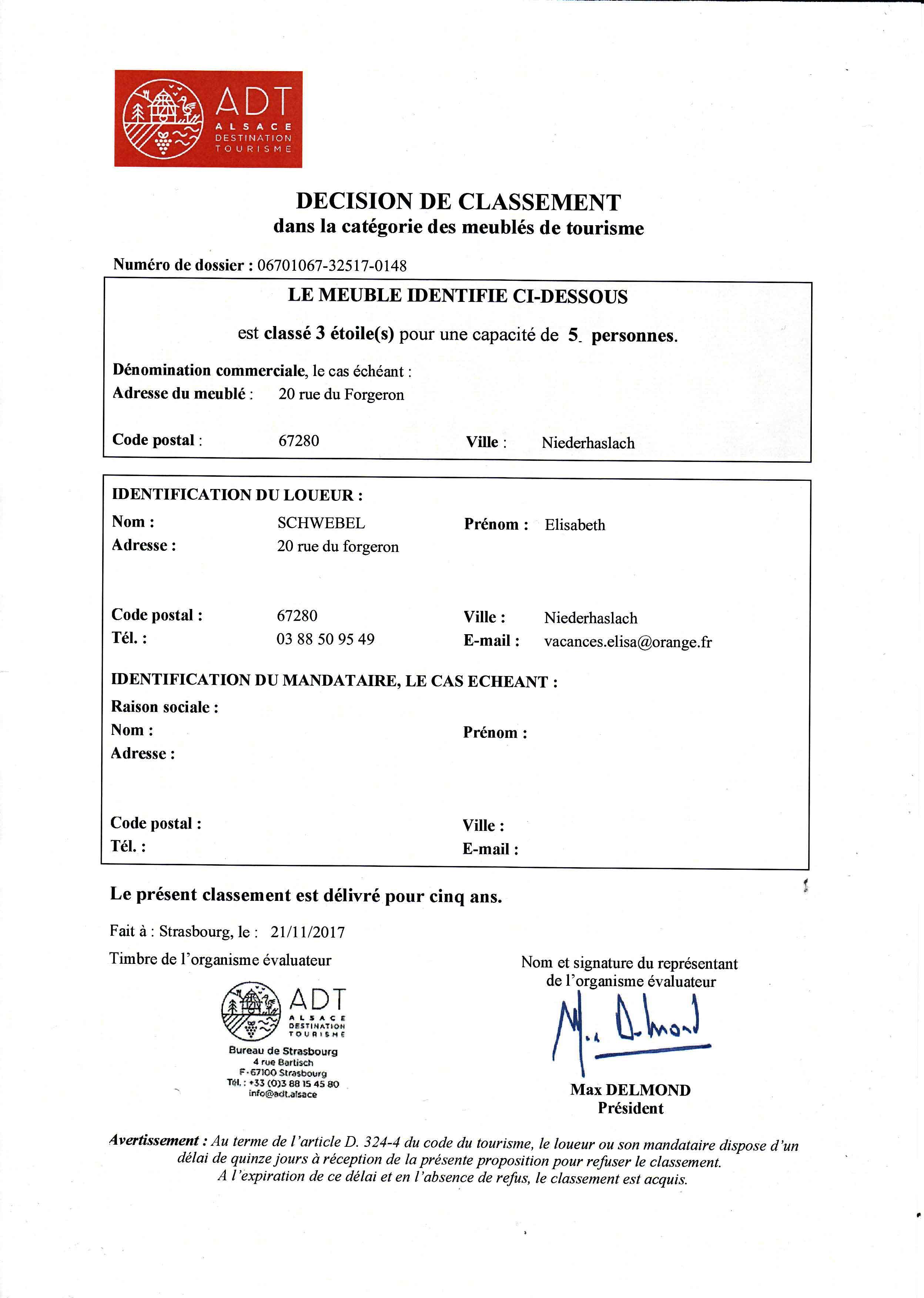 Classement Meuble De Tourisme 3 Etoiles D Un Gite En Alsace